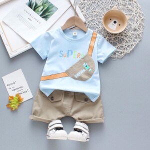 Baby Toddler boy short-sleeve T-shirt striped shorts two-piece suit (Backpack pattern)