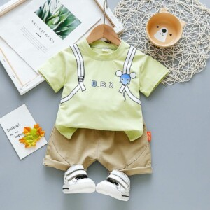 Baby Toddler boy short-sleeve T-shirt striped shorts two-piece suit (Mouse pattern)