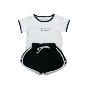 Toddler Kid boys and girls short-sleeve T-shirt and shorts two-piece suit (sports style)