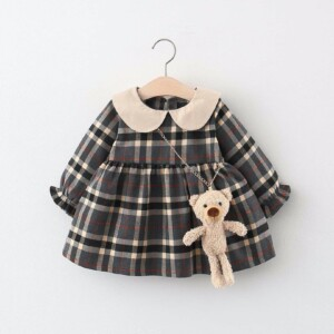 Baby Toddler Kid girl dresses (thick plaid, forward-turned collar style)