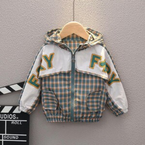 Baby Toddler Kid boys and girls long-sleeve hooded jacket (letter check style)