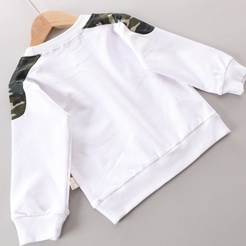 Toddler Kid boys' long-sleeve plus velvet sweater two-piece suit (camouflage style)