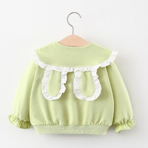 Kid girl long sleeve lapel coat ( princess rabbit ear style)