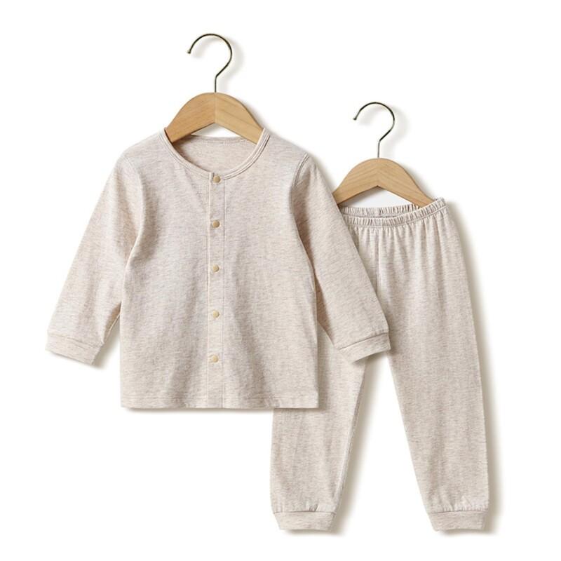 Kid boy girl long-sleeve home wear two-piece suit (solid color cotton linen design)