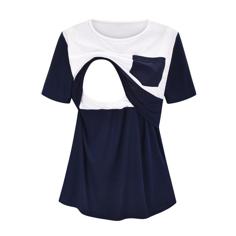 Colorblock Short-sleeve Nursing Top