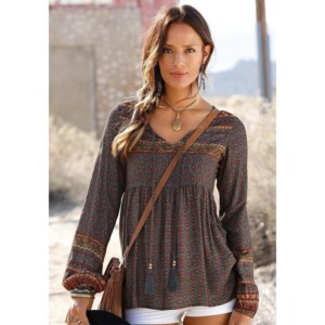 Printeded Long-sleeve Loose Shirt