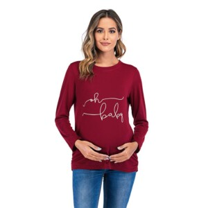 Love Print Long-sleeve Maternity Shirt