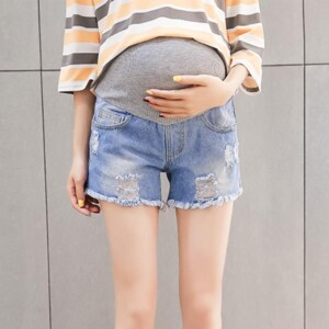Denim Stretch Maternity Belly Lift Shorts