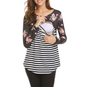 Floral Print Long-sleeve Nursing Top