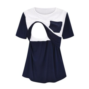 Colorblock Short-sleeve Nursing Top