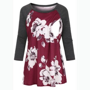 Floral Print Long-sleeve Maternity Top