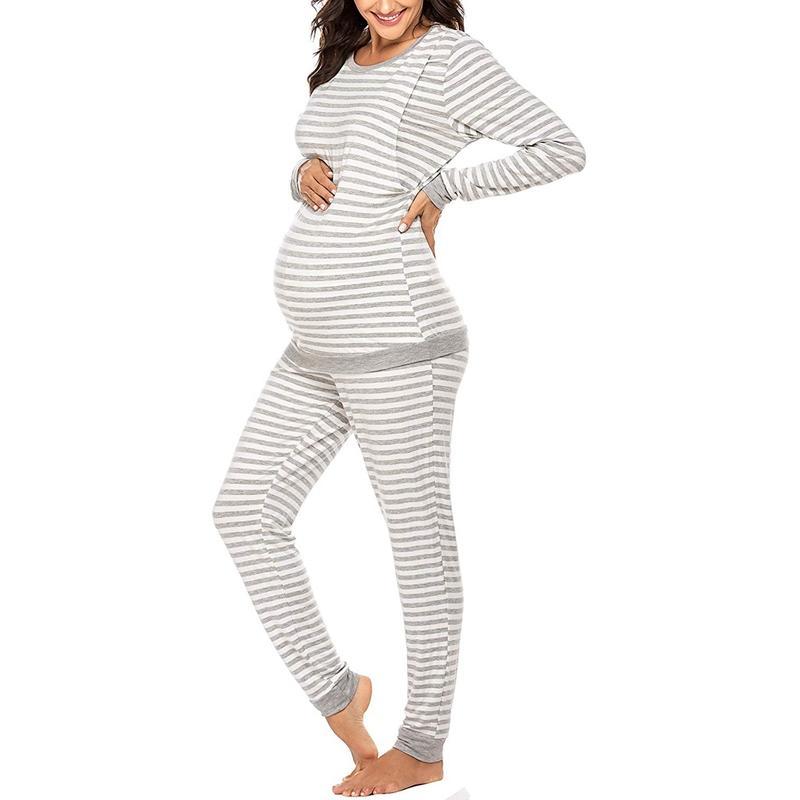 Striped Long-sleeve Nursing Pajamas Set