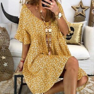 Floral Print Bell Sleeve Dress for Maternity