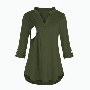 Solid V-neck Breastfeeding Maternity Top