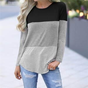 Color-block Long-sleeve Nursing Top