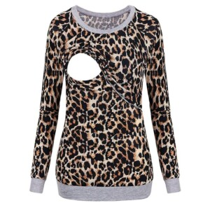 Leopard Long-sleeve Nursing Hoodie