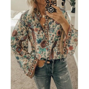 Peacock Print Loose Shirt for Maternity