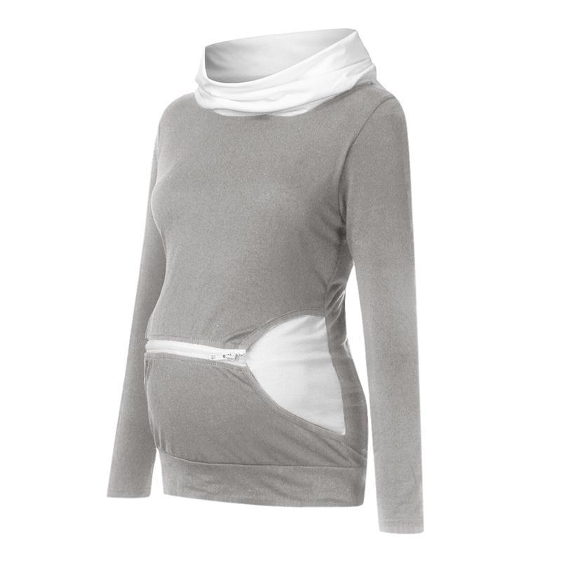Colorblock Long-sleeve Nursing Hoodie