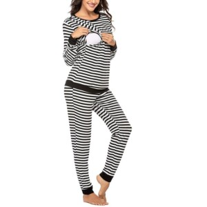 Striped Long-sleeve Nursing Pajamas Set