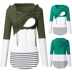 Color-block Drawstring Nursing Hoodie