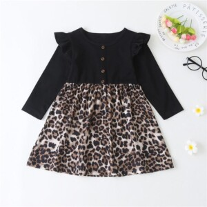 Leopard Pattern Dress for Toddler Girl