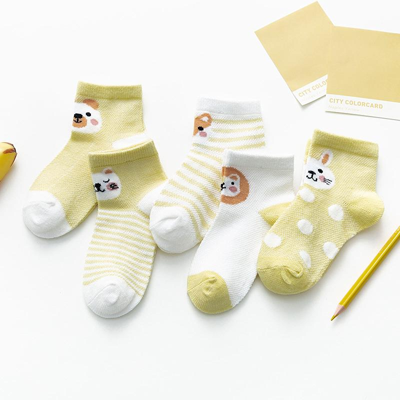 5-piece Animal Pattern Breathable Socks for Baby