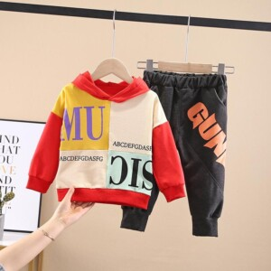 2-piece Color-block Letter Pattern Hoodie & Pants for Toddler Boy
