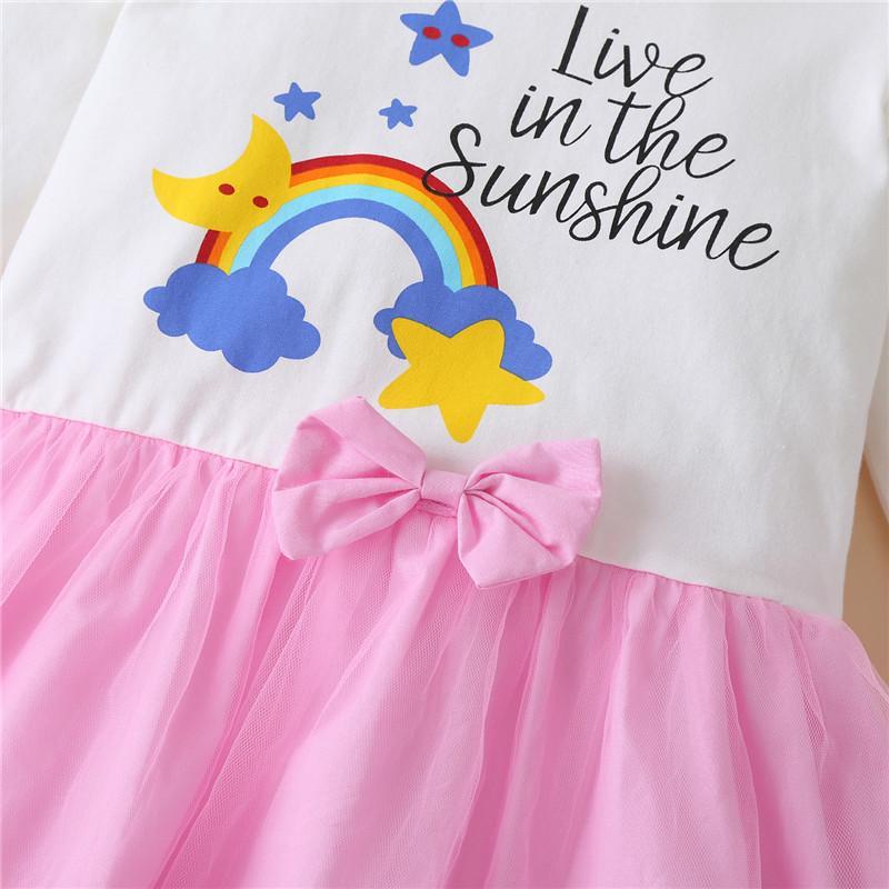 Letter Pattern Dress for Toddler Girl