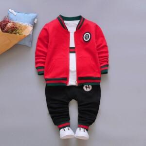 3-piece Sporty Coat & Sweatshirts & Pants for Toddler Boy