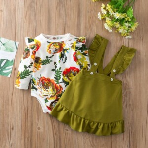 2-piece Floral Printed Bodysuit & Solid Dungarees for Baby Girl