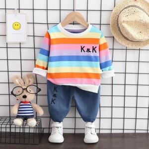 2-piece Color Stripes Sweatshirt & Jeans for Toddler Girl