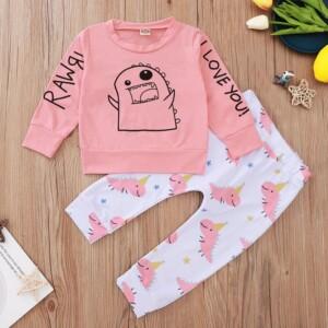 2-piece Cartoon Design Sweatshirts & Pants for Baby Girl