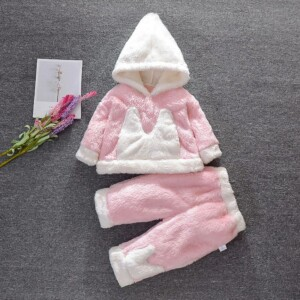 2-piece Color-block Hooded Coat & Pants for Baby