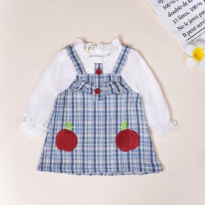 Color-block Plaid Dress for Toddler Girl