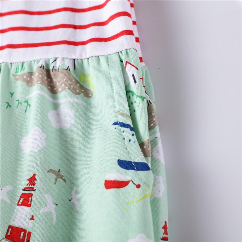 1-piece Striped Dress For Girls