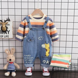 2-piece Striped Sweatshirts & Dungarees for Toddler Boy