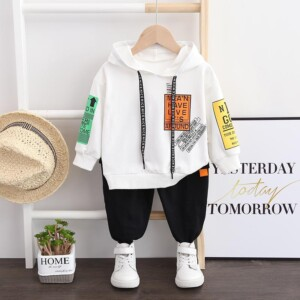 2-piece Letter Hoodie and Pants Set(No Shoes)