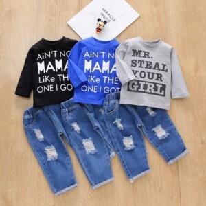 2-piece Letter Pattern Sweatshirts & Jeans for Baby Boy
