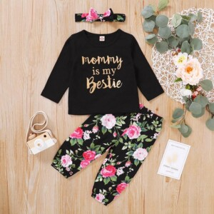 3-piece Letter Pattern Tops & Floral Printed Pants & Headband for Baby Girl