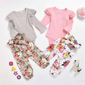 2-piece Solid Ruffle Bodysuit & Floral Printed Pants for Baby Girl