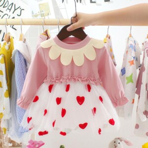Heart-shaped Printed Dress for Toddler Girl