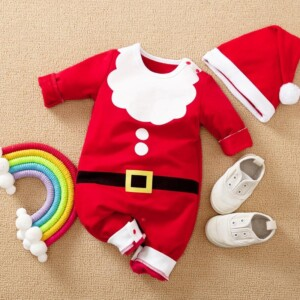 2-piece Christmas Color-block Jumpsuit & Hat for Baby Boy