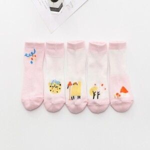 5-piece Cartoon Design Mesh Socks