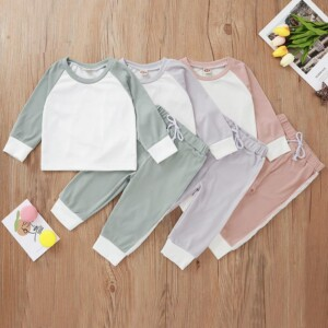 2-piece Color-block Tops & Pants for Baby Girl