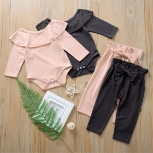2-piece Solid Bodysuit & Pants for Baby Baby Girl