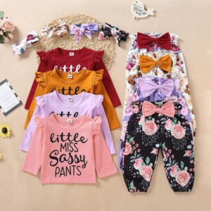 3-piece Letter Pattern Bodysuit & Floral Printed Pants & Headband for Toddler Girl