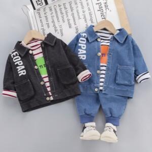 3-Pieces Fashion Letter Print Jacket +Stripes T-shirt + Jeans
