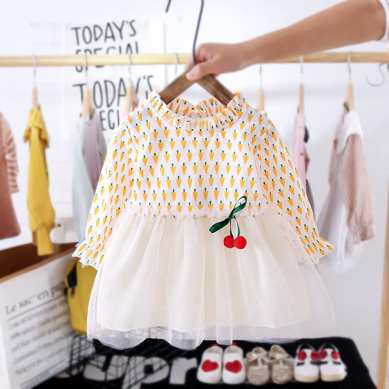 Floral Printed Patchwork Tulle Dress for Toddler Girl