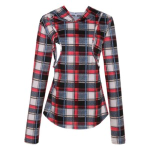 Long-Sleeve Plaid Nursing Top