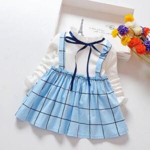 Fashion Color-block Plaid Dress